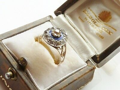 Stunning Antique Georgian Diamond & Royal Blue Enamel Ring C.1790 -1800