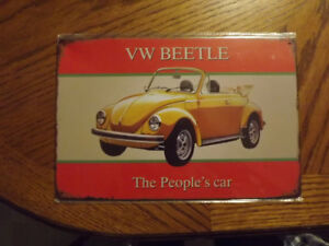 VW Beetle, Bus, Volkswagen Licence plate and metal signs