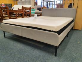 Ikea fabric kingsize bed with memory foam mattress
