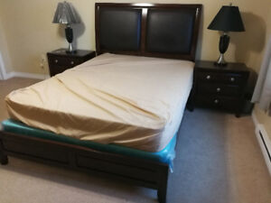 Bed and Mattress + bedside cabinets and lamps