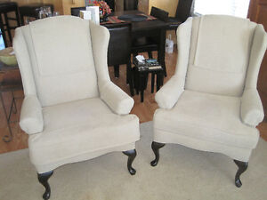 Pair of Beautful Wing-back chairs with Ottoman - recovered