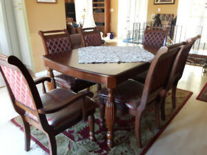 Dining table, six chairs and cabinet