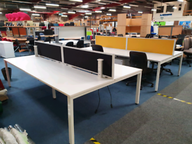 Second hand White Bench Desks, huge Glasgow Showroom