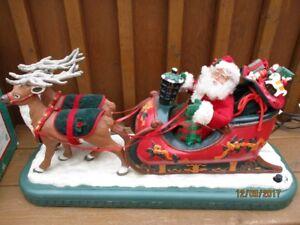 """Animated Reindeer & Santa Sleigh--lights up, sings--24""""  Long"""