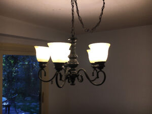 Rustic Iron Chandelier with Ivory Glass Shades – SPOTLESS