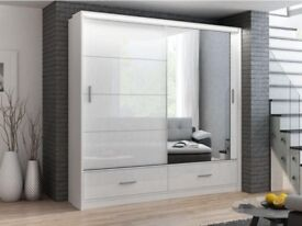 🔵⚫BEST SELLING BRAND🔵⚫NEW HIGH GLOSS SLIDING DOOR MARSYLA WARDROBE WITH LED LIGHT AND DRAWERS