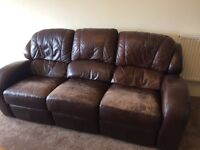 3 seater & 2 seater brown leather couches
