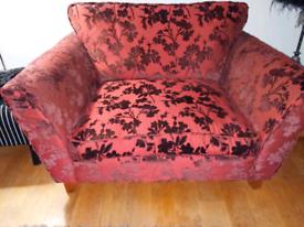 M & S Love Seat - Red / Burgundy Satin/Velour fabric