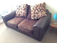 Leather and suede sofa brown