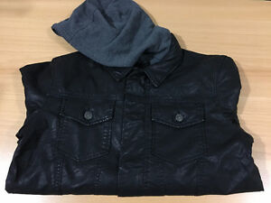 New Charles & 1/2 Faux-Leather Hooded Jacket | Unisex S, $30 OBO