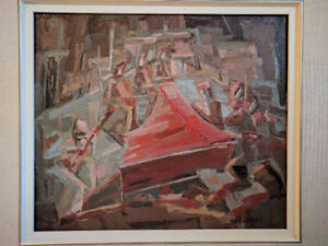 """Abstract painting Pauline Bressan acrylic 14""""x 12"""" 1989"""