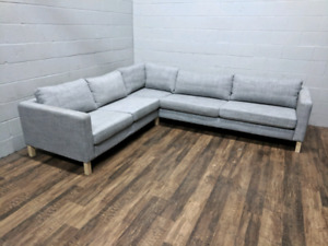 (Free Delivery) - Ikea Karlstad Grey Sectional Sofa