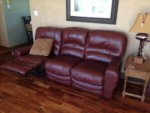 real leather couch and matching love seat