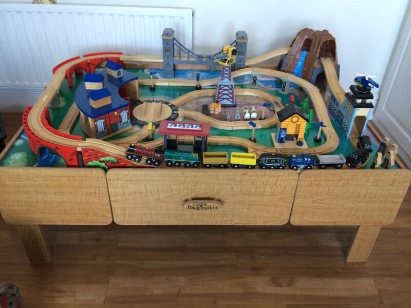 Universe Of Imagination Wooden Train Table Track Set In