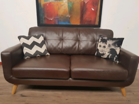 John lewis Barbican midcentury style 2 seater sofa in leather RRP£2000