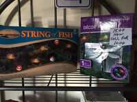 New in box String lights fish & bobbers & solar dragon flies