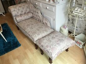 CHAISE LONGUE AND FOOTSTOOL