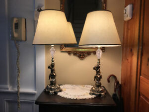 Matching cherub lamps