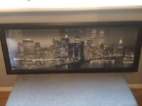 Large framed picture of New York at night