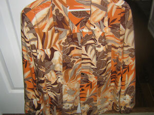 Orange print womans jacket