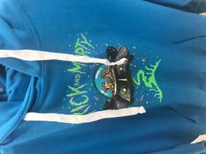 "Rick and Morty hoodie w writing on sleeve, ""Wubba Lubba Dub Dub"""