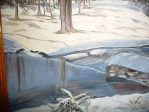 "Original Oil Painting ""Winter's Day By The Stream"" Stratford Kitchener Area image 5"
