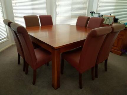 Large 9 Piece Dining Set - Solid Timber Table 150cm x 150cm