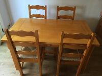 Solid Pine Dining Table & Chairs