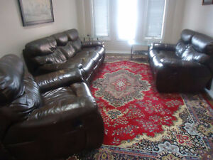 3 Piece Leather Recliner Couch Set