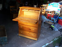 Solid Pine Drop Leaf Desk With Three Drawers