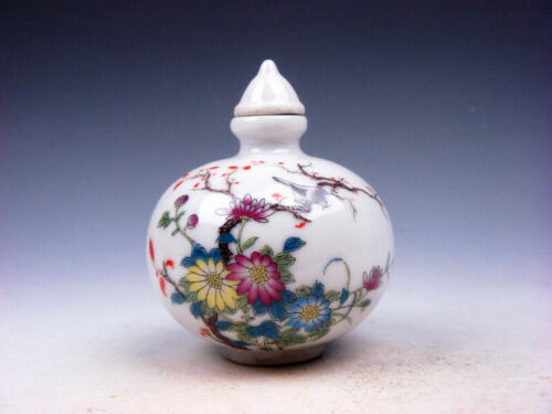 Famille-Rose Glazed Porcelain Snuff Bottle Lovely Bird Flower Blossoms 10162003 - $9.99