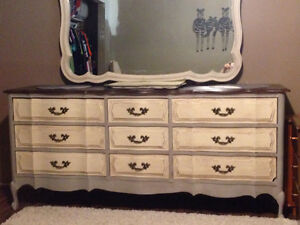 French provincial dresser and mirror