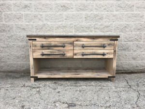 "60"" Stunning rustic vanity with open bottom shelf and 4 drawers"