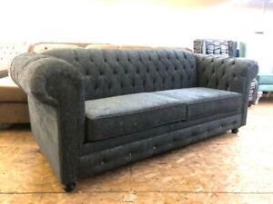 BRAND NEW CANADIAN MADE GREY CHARCOAL TUFTED SOFA+TUFTED CHAISE