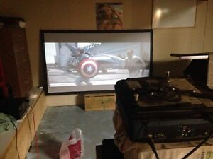 "HD projector and 92"" screen"