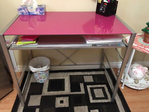 Pink Glass Top Desk