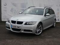2008 BMW 3 SERIES 320D M SPORT TOURING SERVICE HISTORY BLACK LEATHER SPORTS SEAT