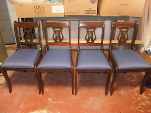 4 matching lyre back solid wood vintage dining chairs