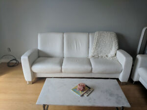 Like New White Leather Couches for Sale Immediately