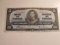 VIEILLE MONNAIE DE PAPIER $5.00 1937