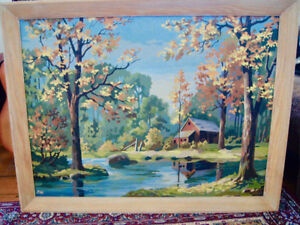 large 1950's paint by number painting