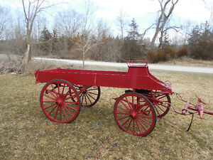 2 Horse Drawn Wagon Red.