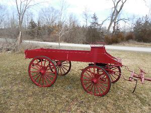 2 Horse Drawn Wagon Red.