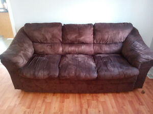 2 choc Brown couches,micofibre