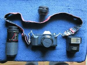 Canon T50 Camera with Lenses, Flash and Carrying Case