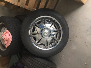 Universal Chrome rims and tires 20 inch