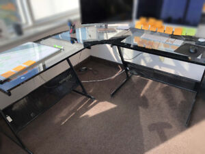 3 Sets Glass-Black Office Desks - Office Furniture ($100 - each)