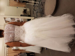 White wedding dress blinged out top to bottom