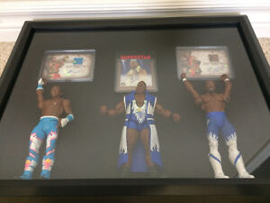 The New Day WWE Wrestling Figure, Auto & Relic Shadowbox Display