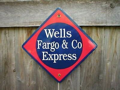 Wells Fargo   Co Express Porcelain Coated Railroad Sign